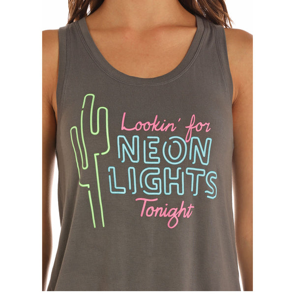 49-9378 Rock & Roll Cowgirl Juniors LOOKIN FOR NEON LIGHTS TONIGHT Tank Tpp