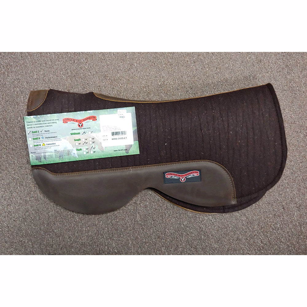0056-3432-C1 Circle Y Round Contoured Trail Pad Chocolate Wool Felt  Walnut Wear Leathers