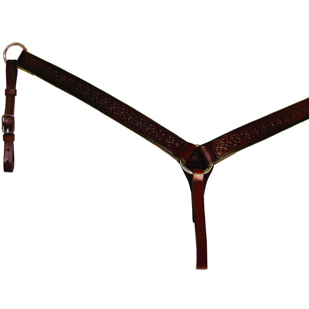 4280-6901 Circle Y 1 1/2 Inch Straight Daisetta Tooled Breast Strap - Walnut