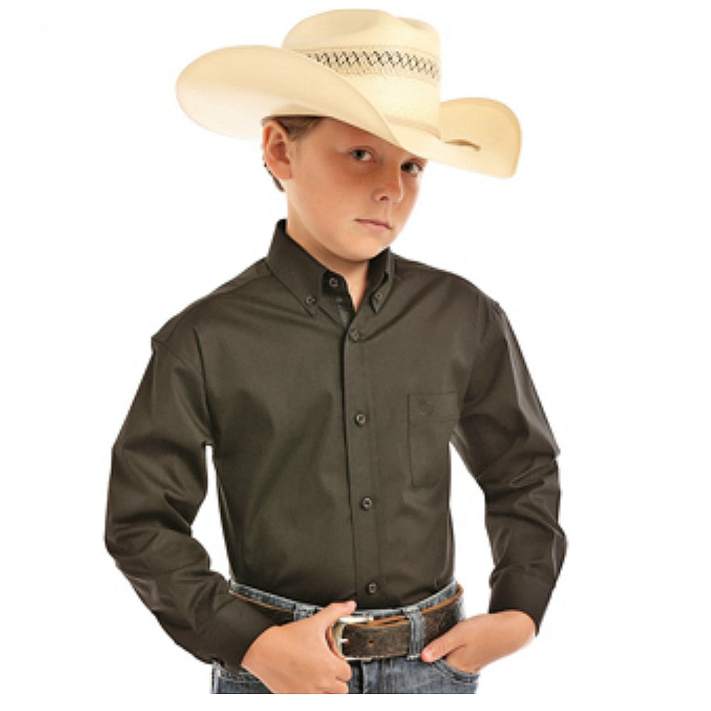 C0D5649 Panhandle Boys Solid Button Down Western Shirt Long Sleeve