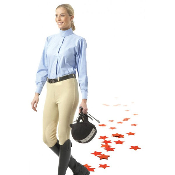 464890 EquiStar Ladies Pull On Knee Patch Breeches - Neutral Beige