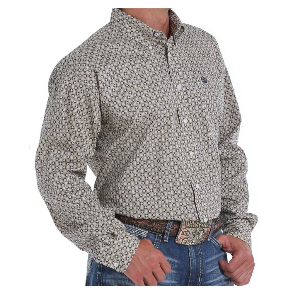 MTW1104830 Cinch Mens Khaki Print Western Shirt