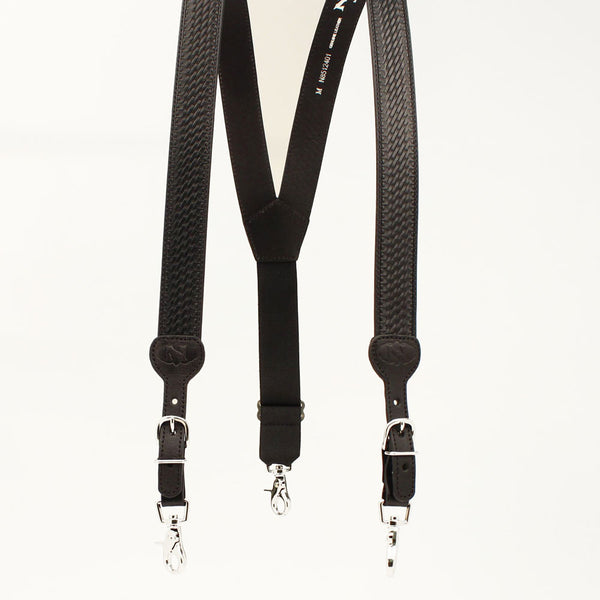 N8512401 Nocona Gallus Black Leather Suspenders with Basketweave Tooling