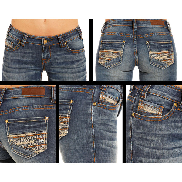 W2-4606 Rock & Roll Cowgirl Juniors Boyfriend Fit Jeans Multistitched Sequin Pockets
