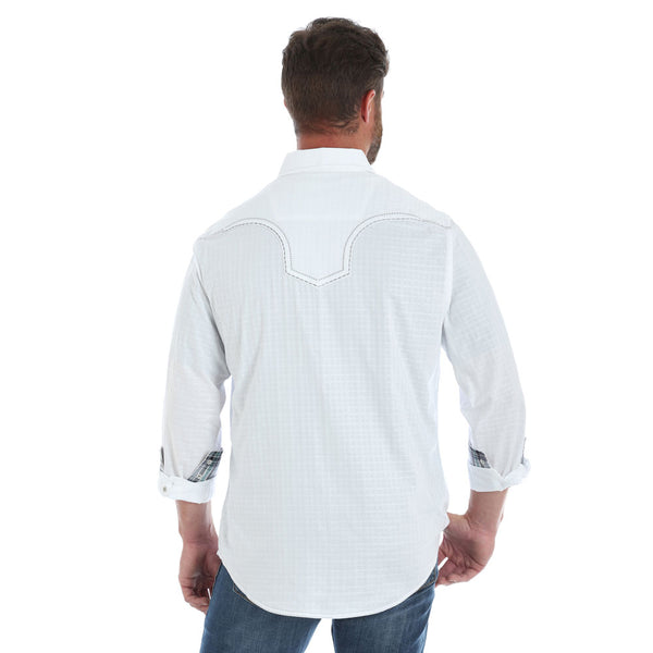 MRC362W Rock 47 by Wrangler Men's White Long Sleeve Western Snap Shirt