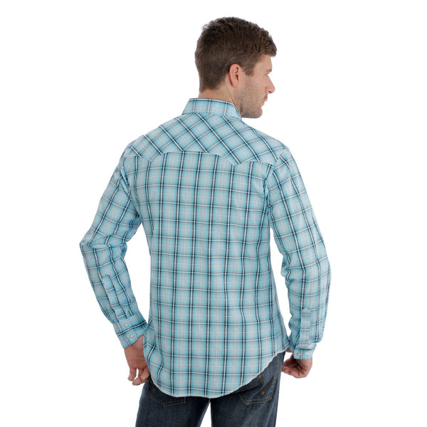 MVG251Q Wrangler Men's Long Sleeve Turquoise & Black Western Snap Shirt