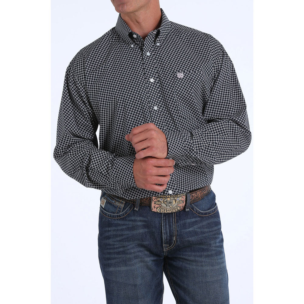 MTW1104856 Cinch Men's Navy Print Long Sleeve Western Shirt