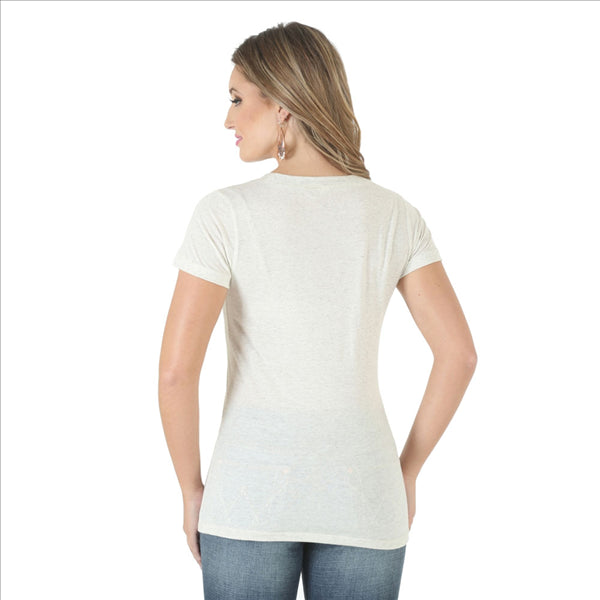 LRWK77N Wrangler SO MANY BUCKS Women's Short Sleeve Tee Oatmeal