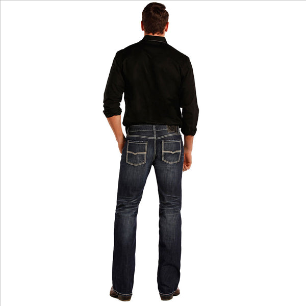 M1P8555 Rock & Roll Cowboy Men's Straight Leg Pistol Jeans Flat Seams Embroidery