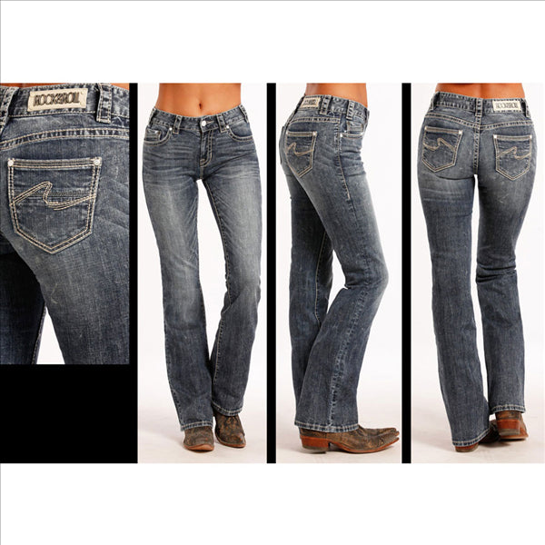 W1-8477 Rock & Roll Cowgirl Juniors Mid Rise Jeans Curved Abstract Pocket Stitching