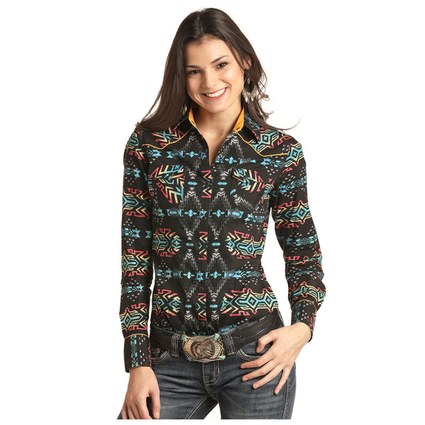 B4S2304 Rock & Roll Cowgirl Juniors Bleach Washed Aztec Print Western Snap Shirt