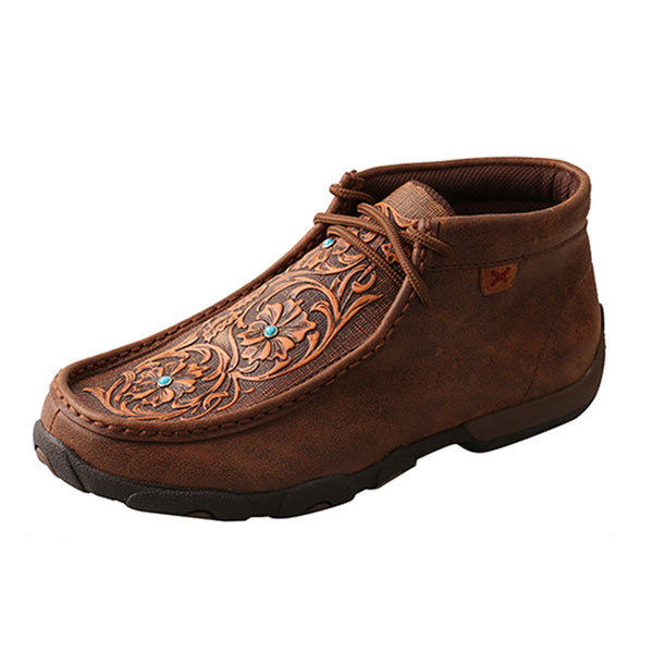 WDM0081 Twisted X Women's Driving Moccasins – Brown/Tooled Flowers