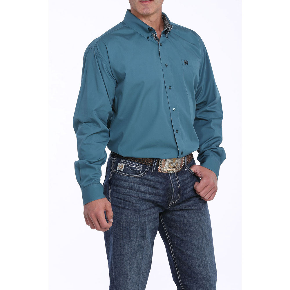 MTW1104862 Cinch Men's Solid Teal Western Shirt