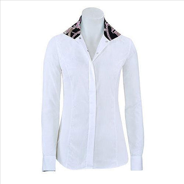 U610S Ladies Linden Long Sleeve English Hunt Shirt with Black & Pink Chain Trim