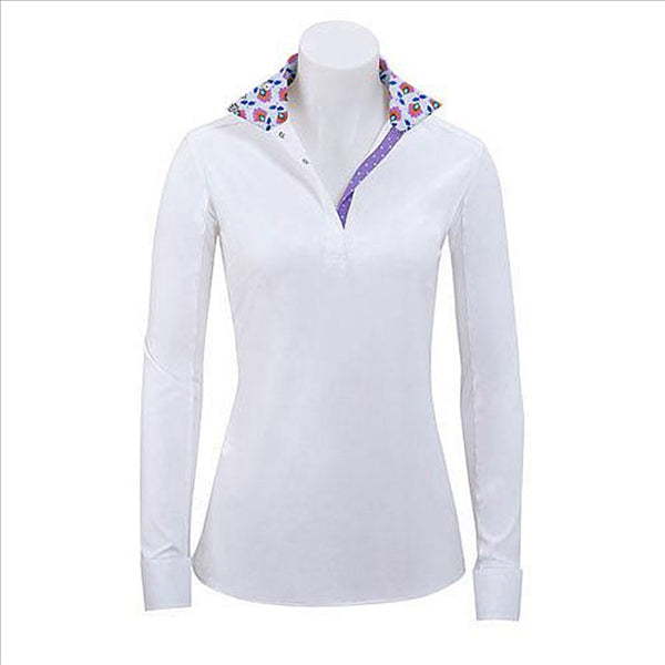 P610G RJ Classics Ladies Paige L/S English Hunt Shirt with Floral & Purple Polka Dot Trim