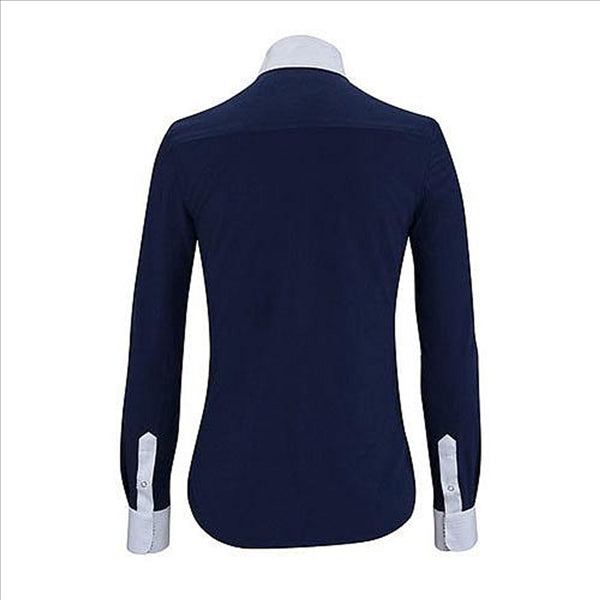 U628A Ladies Linden L/S English Navy & White Hunt Shirt Navy Swirl Trim