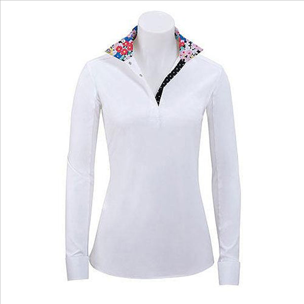 P610D RJ CLassics Ladies Paige L/S White English Show Shirt Floral & Black Polka Dot Trim