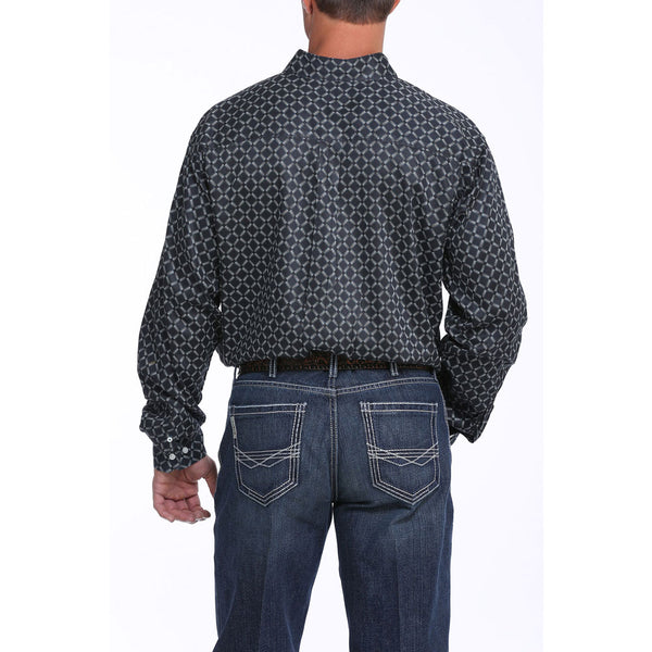 MTW1104873 Cinch Men's Black Print Western Shirt