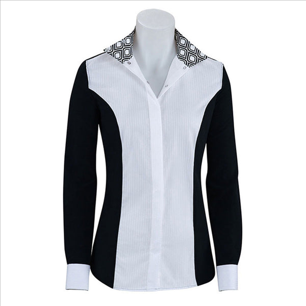 U627B RJ Classics Ladies Prestige Linden Black Show Shirt with Swirl Trim