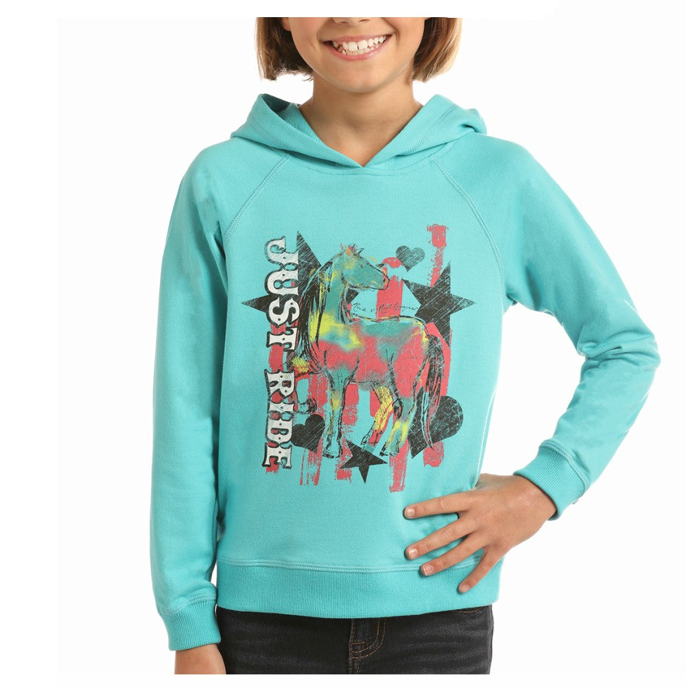 G4H2257 Rock & Roll Cowgirl Girl's Turquoise Hoodie