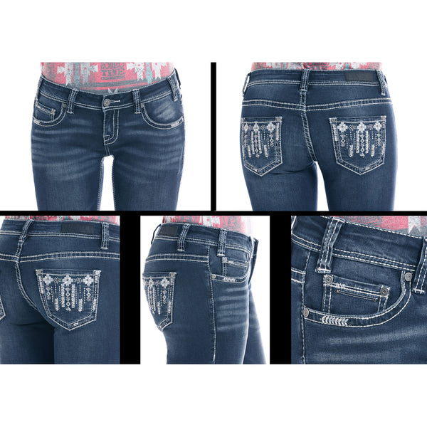 W6-2504 Rock & Roll Denim Juniors Rival Bootcut Jeans Aztec Pocket Stitching
