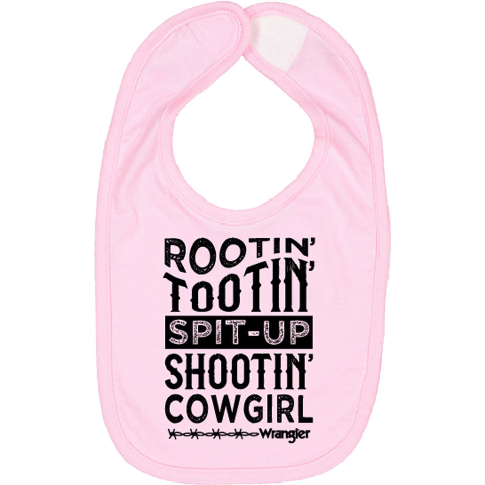 W40058409 Wrangler Infant Girls' Bib ROOTIN TOOTIN SPIT UP SHOOTIN COWGIRL
