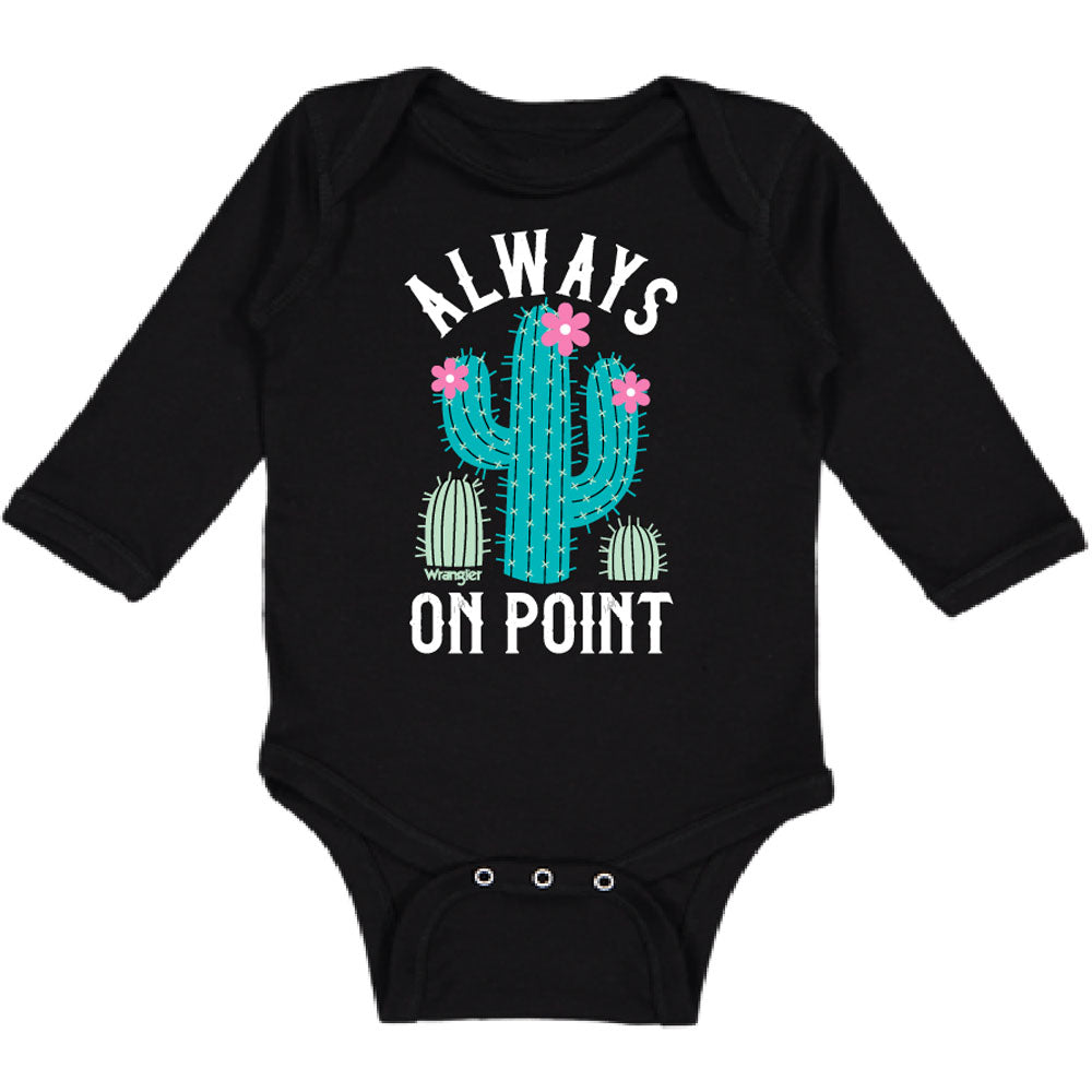 W44118407 Wrangler Infant Girls Black Long Sleeve Bodysuit ALWAYS ON POINT