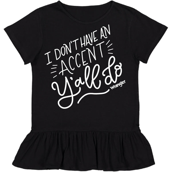 W63278416 Wrangler Toddler Girls' Black Short Sleeve Tunic I DON'T HAVE AN ACCENT Y'ALL DO