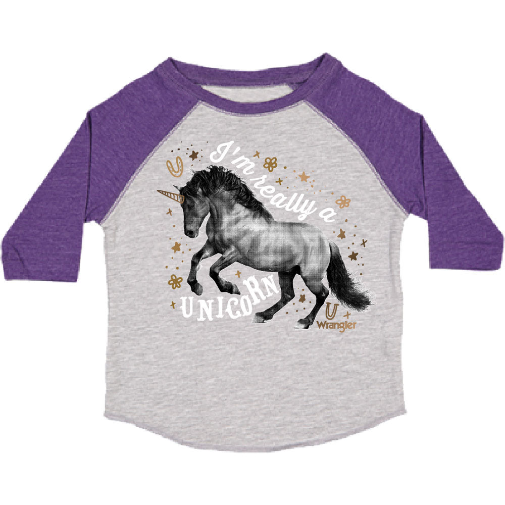 W63308413 Wrangler Toddler Girls' Long Sleeve Purple & Grey Tee I'M REALLY A UNICORN