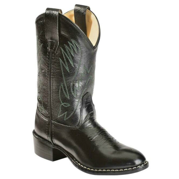 CCY1110G Old West Kids Black Leather Western Cowboy Boot