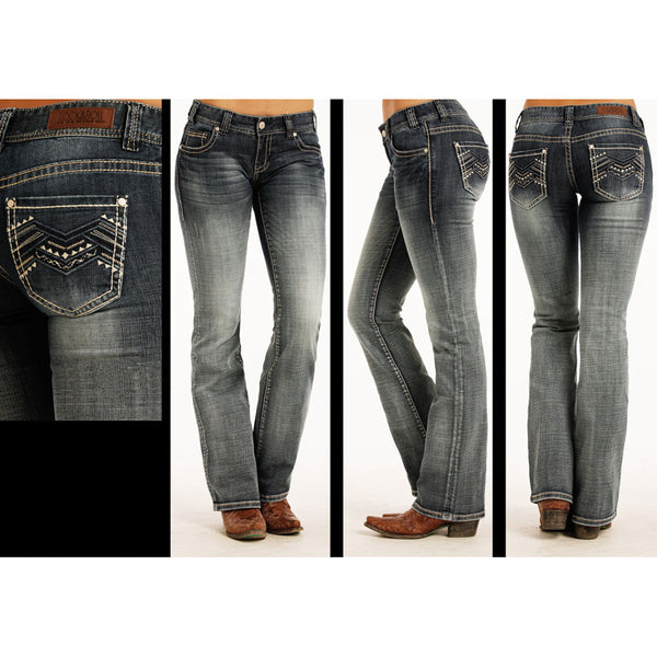 W0-2322 Rock & Roll Cowgirl Juniors Low Rise Aztec Stitched Jeans