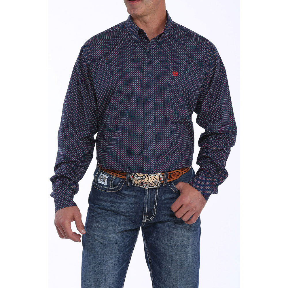 MTW1104886 Cinch Men's Navy Diamond-Square Patterned Button Down Western Shirt