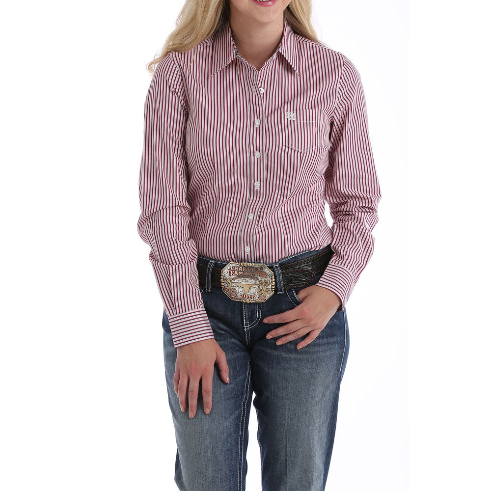 MSW9164114 Cinch Women's Purple & White Stripe Long Sleeve Western Shirt