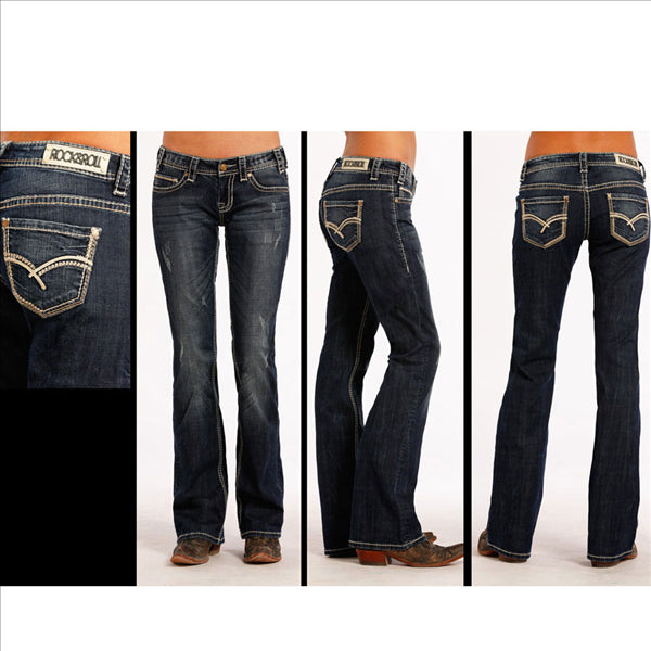 W7-8482 Rock & Roll Cowgirl Juniors Riding Jeans Embroidery Boot Cut
