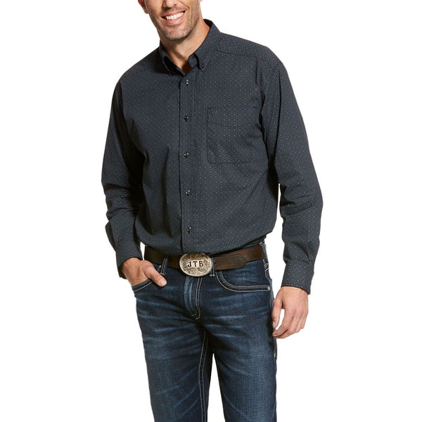10028311 Ariat Men's Uzzo Stretch Classic Fit Western Shirt Long Sleeve Black