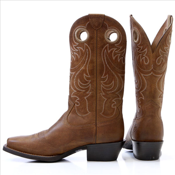 10017365 Ariat Men's Sport Square Toe Leather Western Cowboy Boots Powder Brown