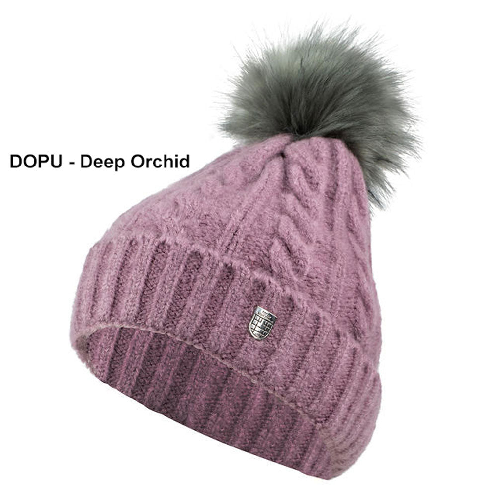 30965 Horze Maddox Kids' Cable Knit Hat with Pom Pom