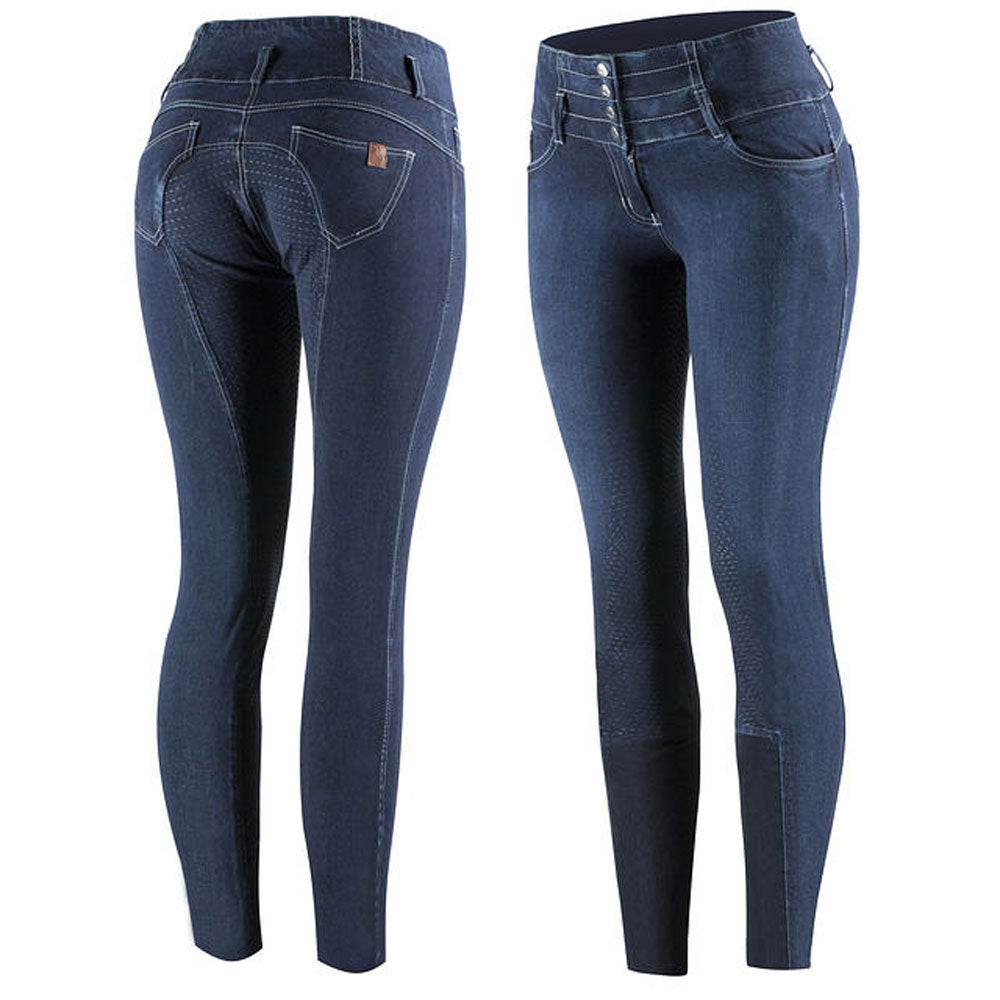 36641 Horze Liza Women's Denim Silicone Full Seat Breeches