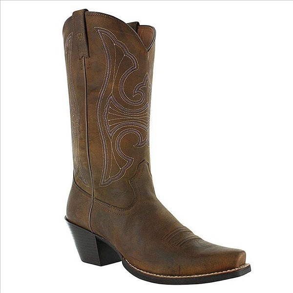 10011953 Ariat Womens Round Up D Toe Mustang Cowboy Boots - Distressed Brown