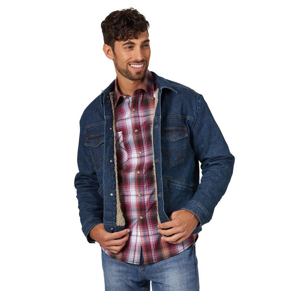 74288VD Wrangler Men's Retro Sherpa Lined Denim Jean Jacket - Vintage Dark Wash