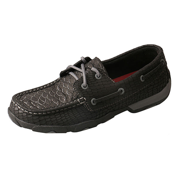 WDM0088  Twisted X Women's Driving Moccasins – Black Fish/Grey