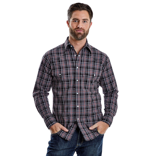 MWR346M Wrangler Men's Wrinkle Resist Grey/Black/Red Plaid Western Snap Shirt