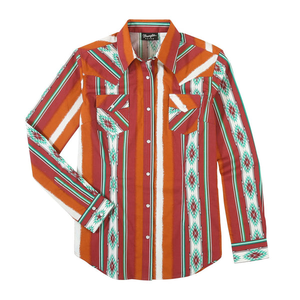 LW8043M Wrangler Women's Long Sleeve Rust Print Western Snap Shirt