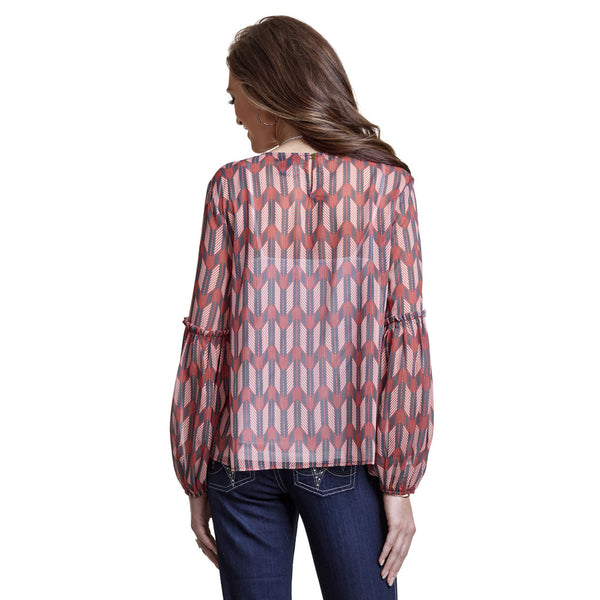 LW8005M Wrangler Women's Poet Sleeve Arrow Print Blouse