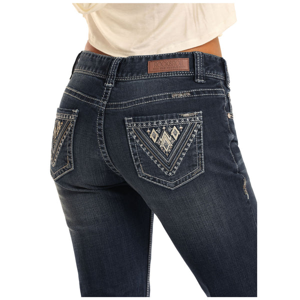 W6-3421 Rock & Roll Denim Ladies Rival Jeans Dark Wash Boot Cut