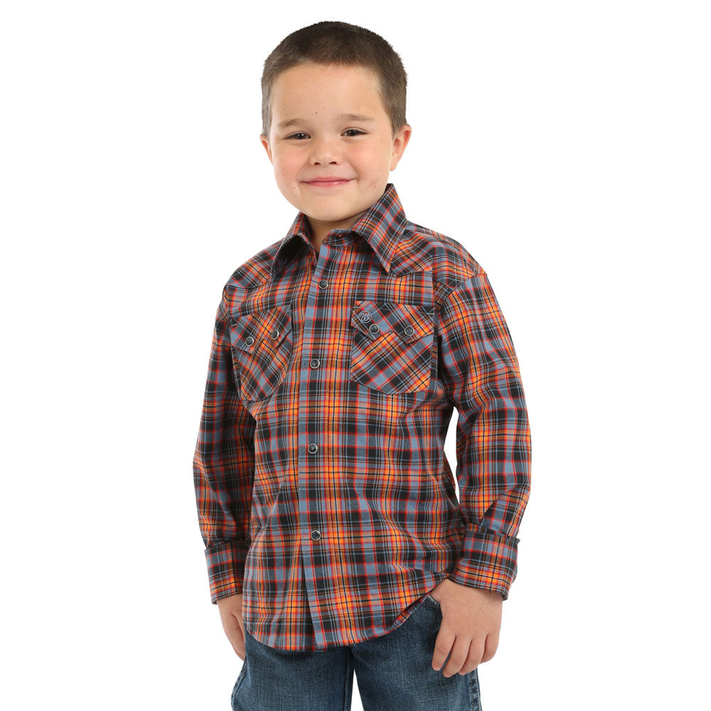 BVR452M Wrangler Retro Boys' Orange/Blue/Black Plaid Long Sleeve Western Snap Shirt
