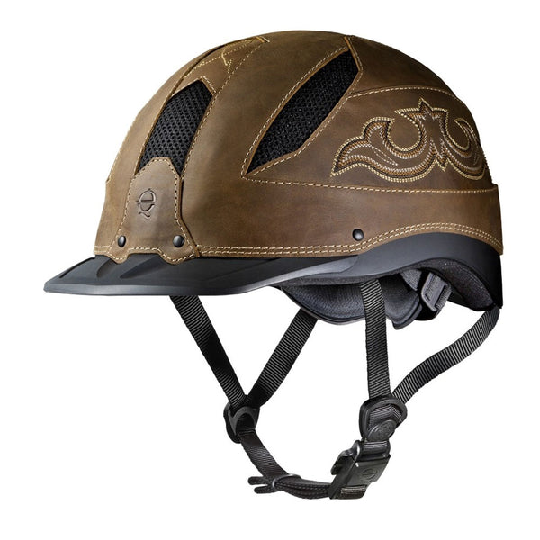 04-381 Troxel Cheyenne Riding Helmet - Brown Leather