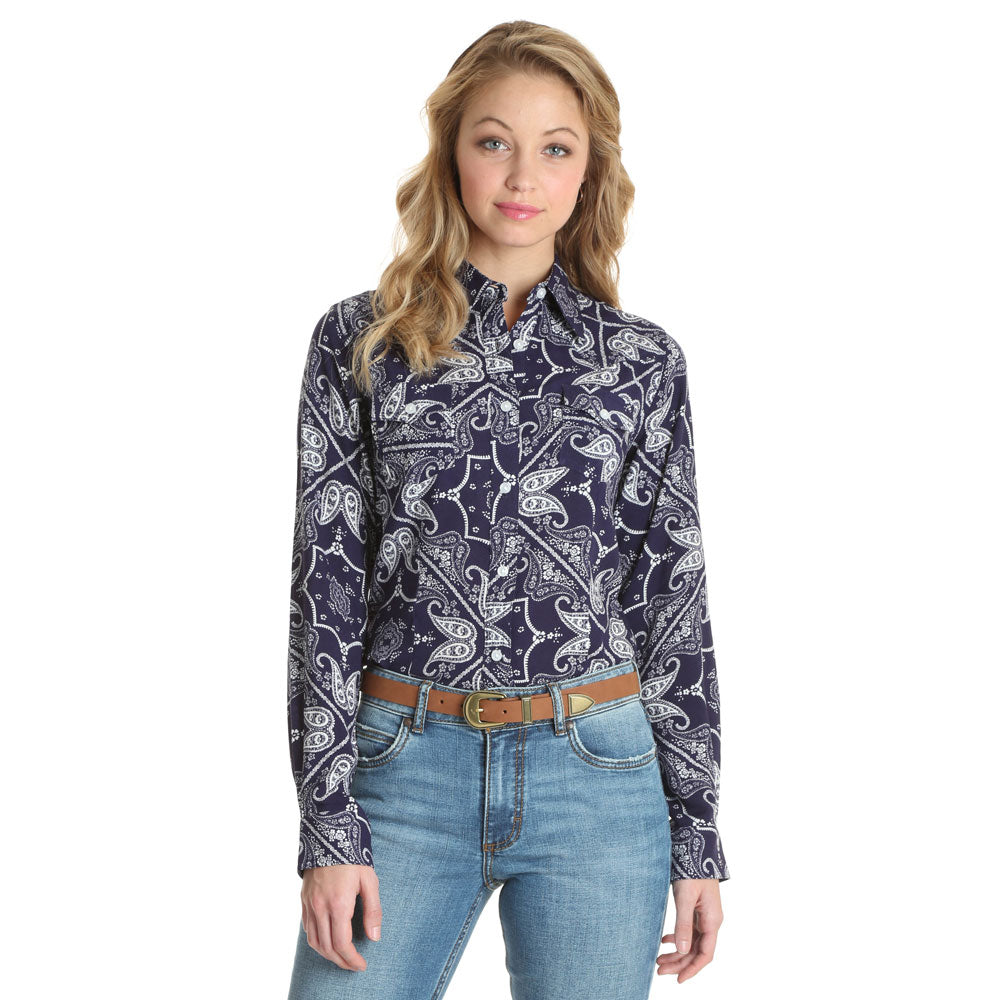 LW3129M  Wrangler Women's Retro® Long Sleeve Navy Paisley Button Down Shirt