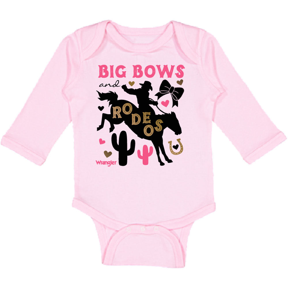 W44118406 Wrangler Baby Girls Long Sleeve One Piece Bodysuit - Pink
