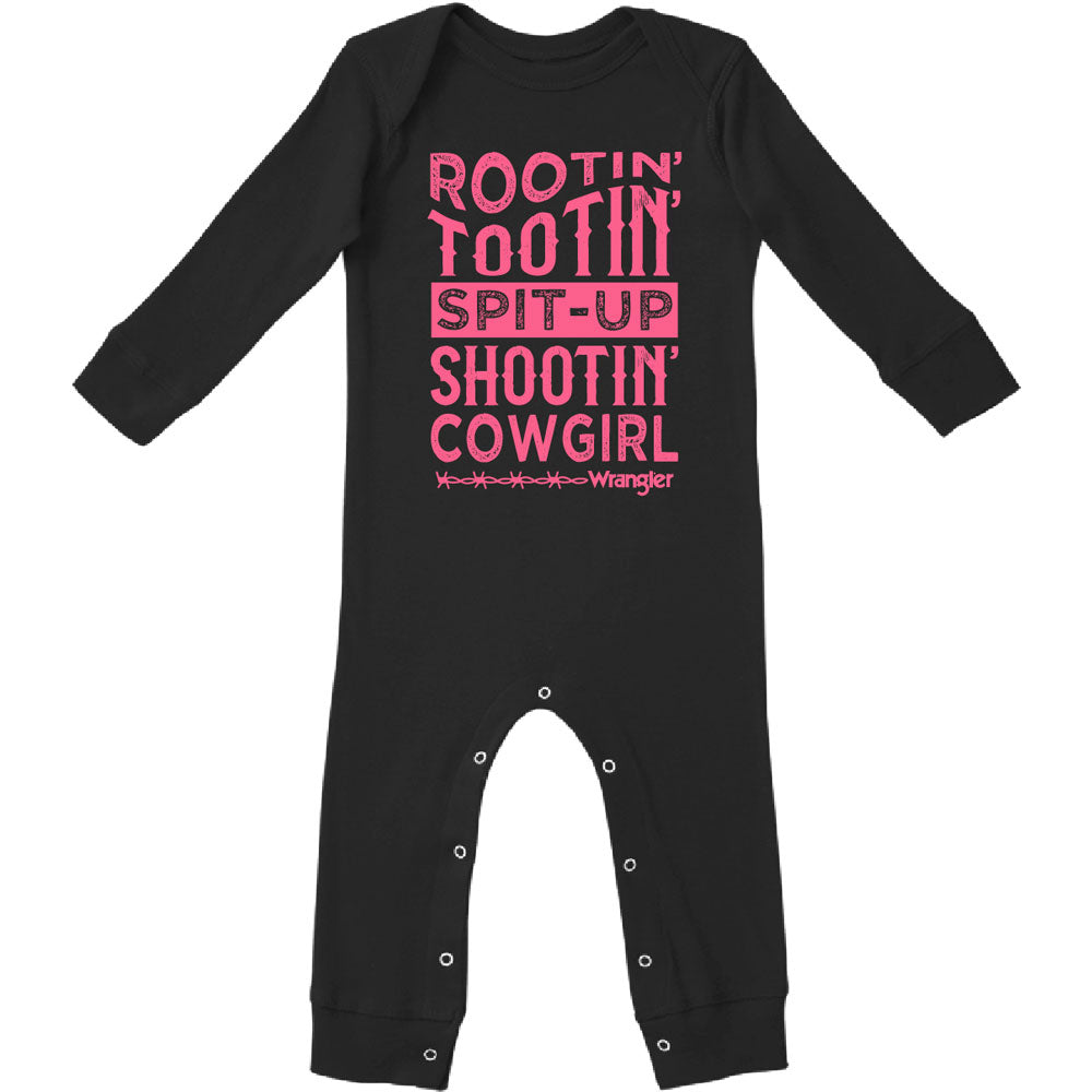 W44128409 Wrangler Baby Girls Coverall One Piece Bodysuit - Black